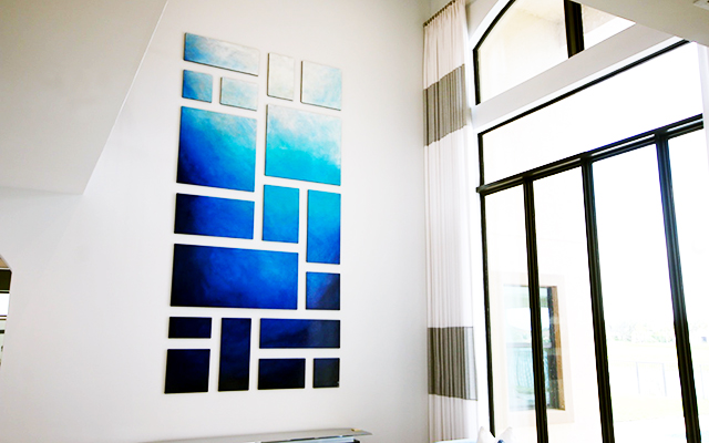 Abstract Blue Painting on Wood Panels by Rosemary Pierce