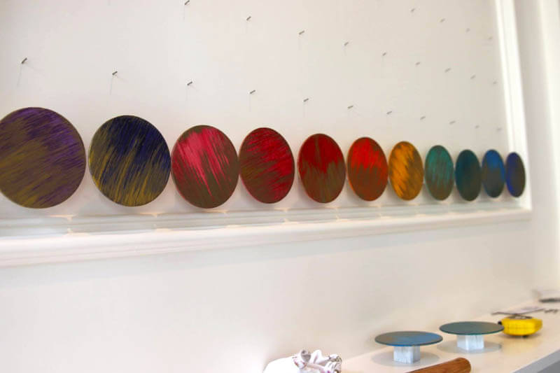 Gilded and painted wood circles, modern wall art