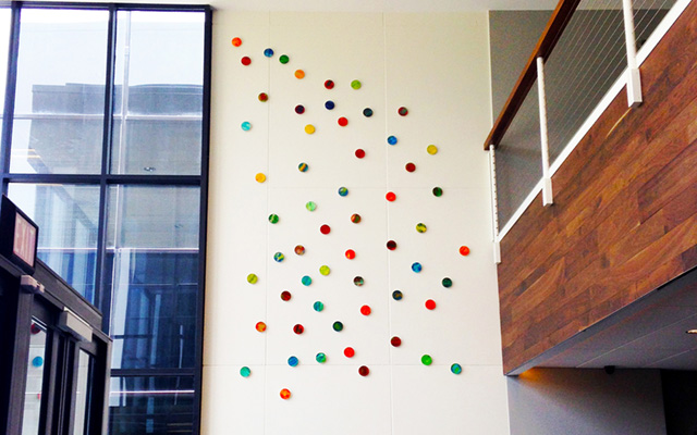 Lyrical Circles | Large Corporate Wall Sculpture | Wood Circles Art