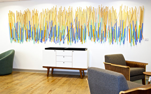 Custom Corporate Art | Wood Stick Wall Sculpture | rosemary pierce modern art