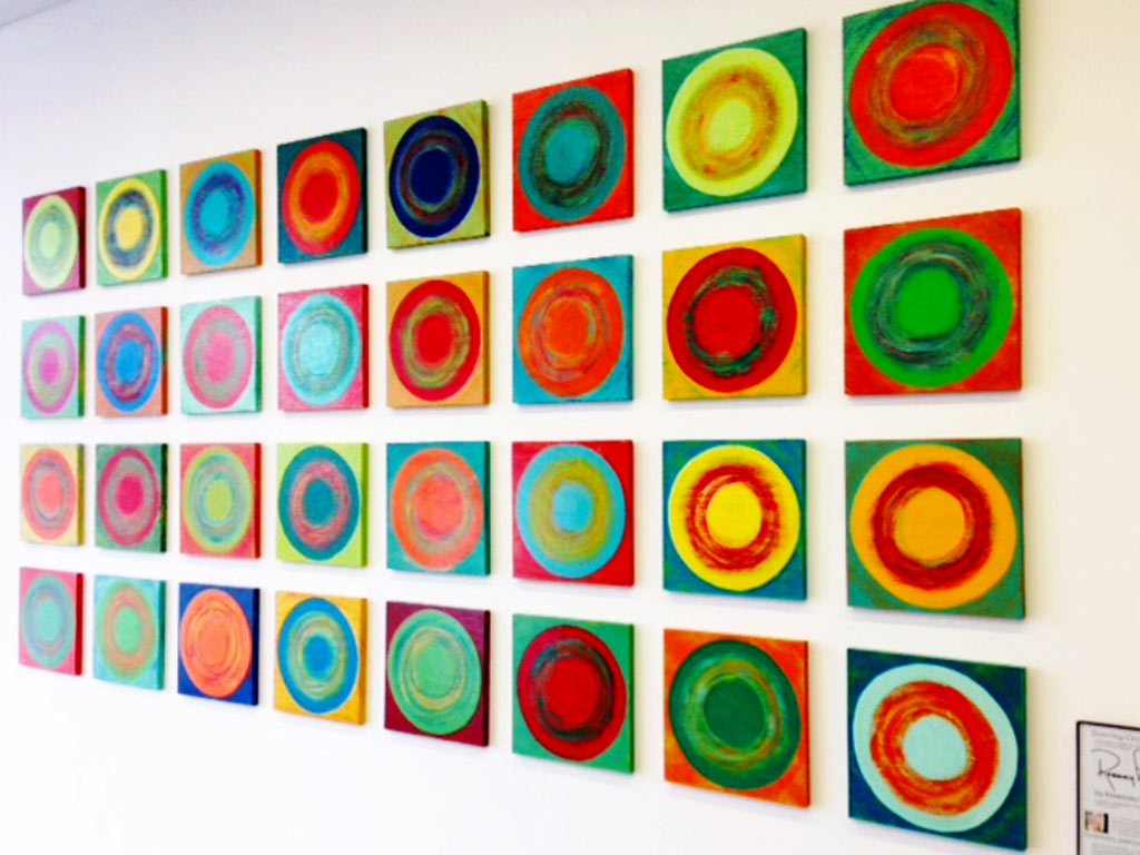 rosemary pierce modern art | dancing circles | custom modern art for sale | wood wall sculpture