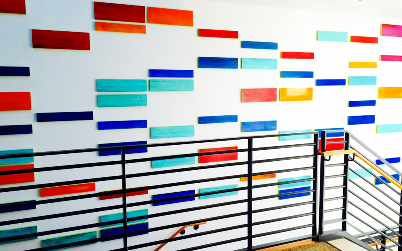 rosemary pierce modern art | DNA inspired custom art| public art installtion | 3D wall art