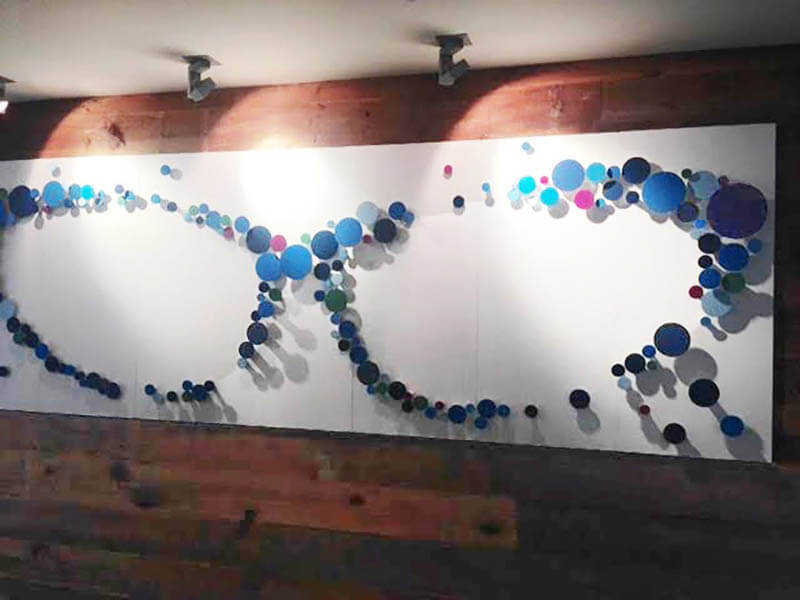 An abstract corporate wall art installation