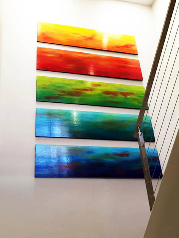 colorful wood wall sculpture by rosemary pierce modern art