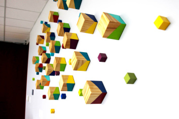 3-D Wood Cube Wall Art Sculpture | rosemary pierce modern art