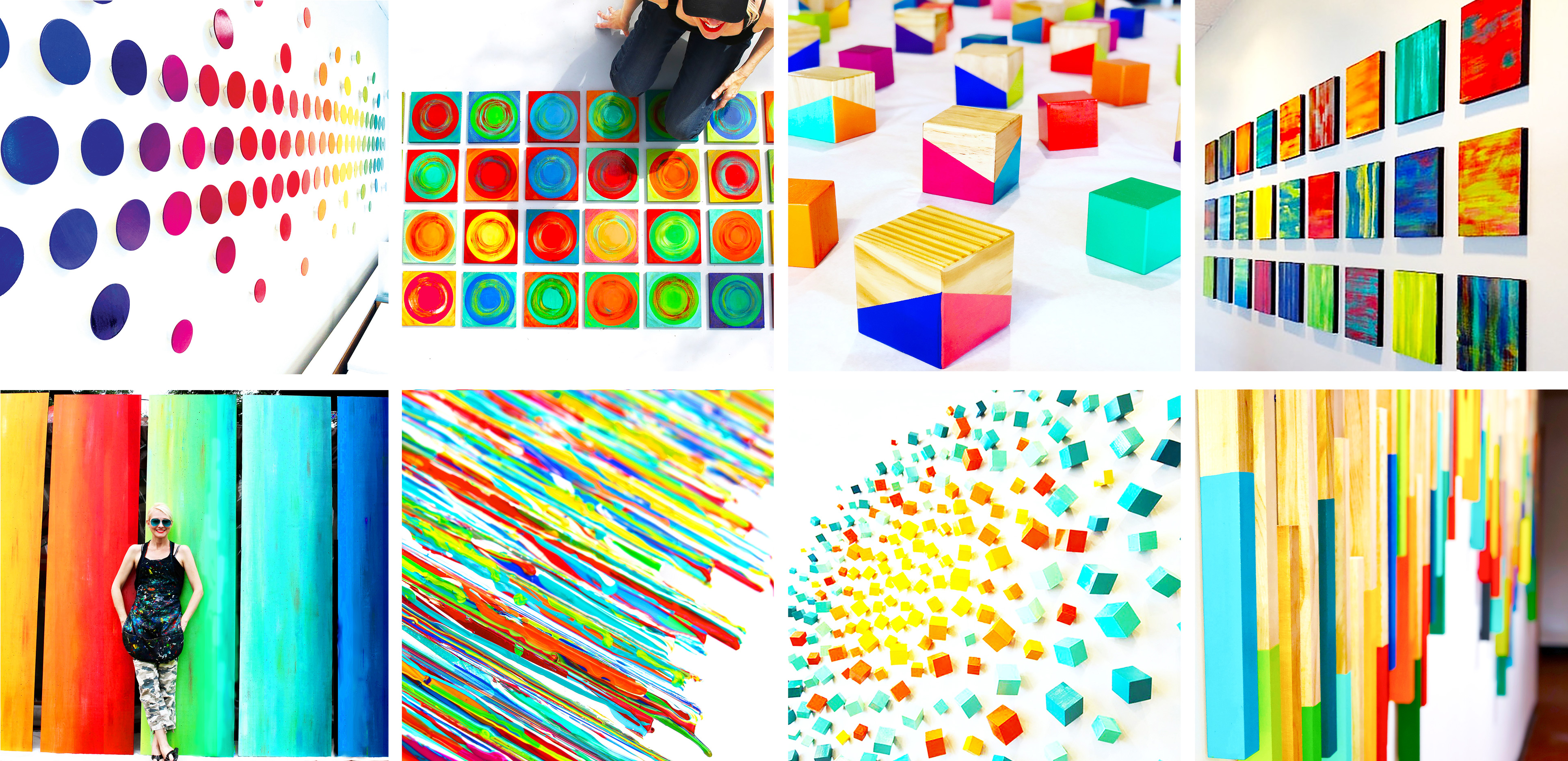 Collection of close up shots of colorful wall sculptures